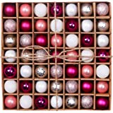 Valery Madelyn 49 Pieces Graceful Silver Pink Christmas Baubles Decorations Shatterproof Ball Ornaments Mixed Finishes Table Centerpiece 30mm, Metal Hooks Included