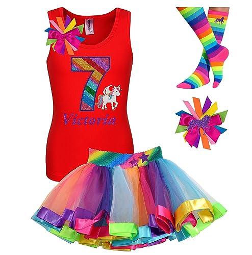 03cf5190626d Amazon.com  7th Birthday Unicorn Shirt Rainbow Outfit 4PC Gift Set Socks Hair  Bow Personalized Name Age 7  Handmade