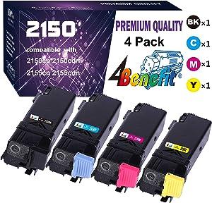 4-Pack 4Benefit Compatible Dell 2150 Toner Cartridge 2155 2FV35 Used for Dell 2150CDN 2150CN 2155CDN 2155CN Printer (Black 331-0719, Cyan 331-0716, Magenta 331-0717, Yellow 331-0718)