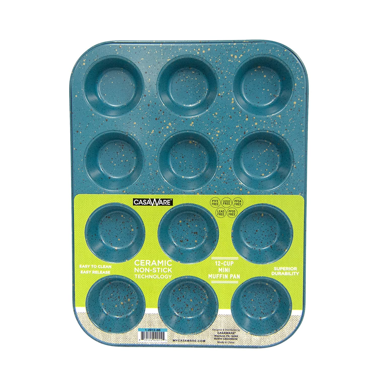 CasaWare Mini Muffin Pan 12 Cup Ceramic Coated Non-Stick (Blue Granite)