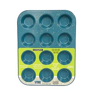 CasaWare Mini Muffin Pan 12 Cup Ceramic Coated Non-Stick (Blue Granite)
