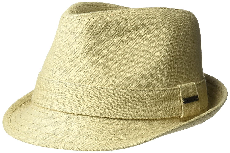 Van Heusen Mens Standard Cotton Herringbone Twill Fedora Hat Metal Plate Logo Khaki M/L ABVH2253AZ-250