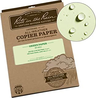 """product image for Rite In The Rain Weatherproof Copier Paper, 8 1/2"""" x 11"""", 20# Green, 200 Sheet Pack (No. 9511)"""