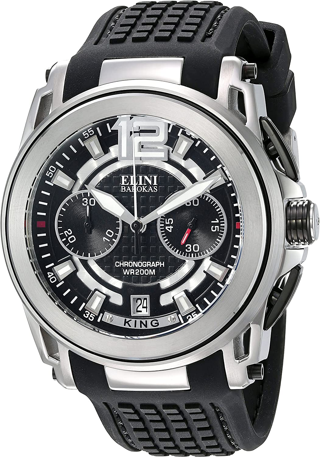Elini Barokas Men s King Swiss Quartz Stainless Steel and Silicone Watch, Color Black Model 20014-01