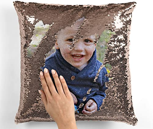 Oliver and Olivia Apparel Custom Photo Sequin Pillow Rose Gold Sequin Pillow Custom Photo Gift Rose Gold Sequins