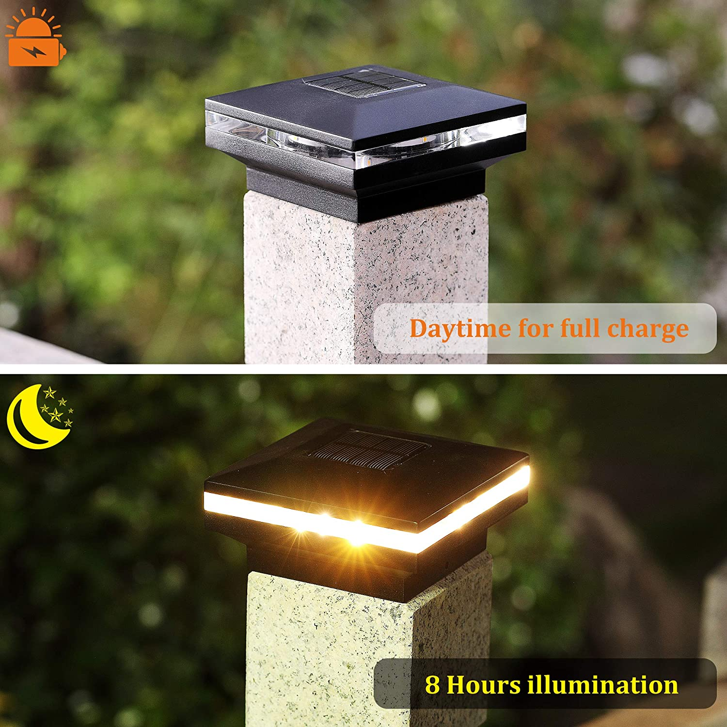 MAGGIFT 15 Lumen Solar Post Lights 5x5 or 6x6 Wooden Posts Warm White High Brightness SMD LED Lighting Solar Powered Caps Lamp Fits 4x4 2 Pack Outdoor Post Cap Light for Fence Deck or Patio