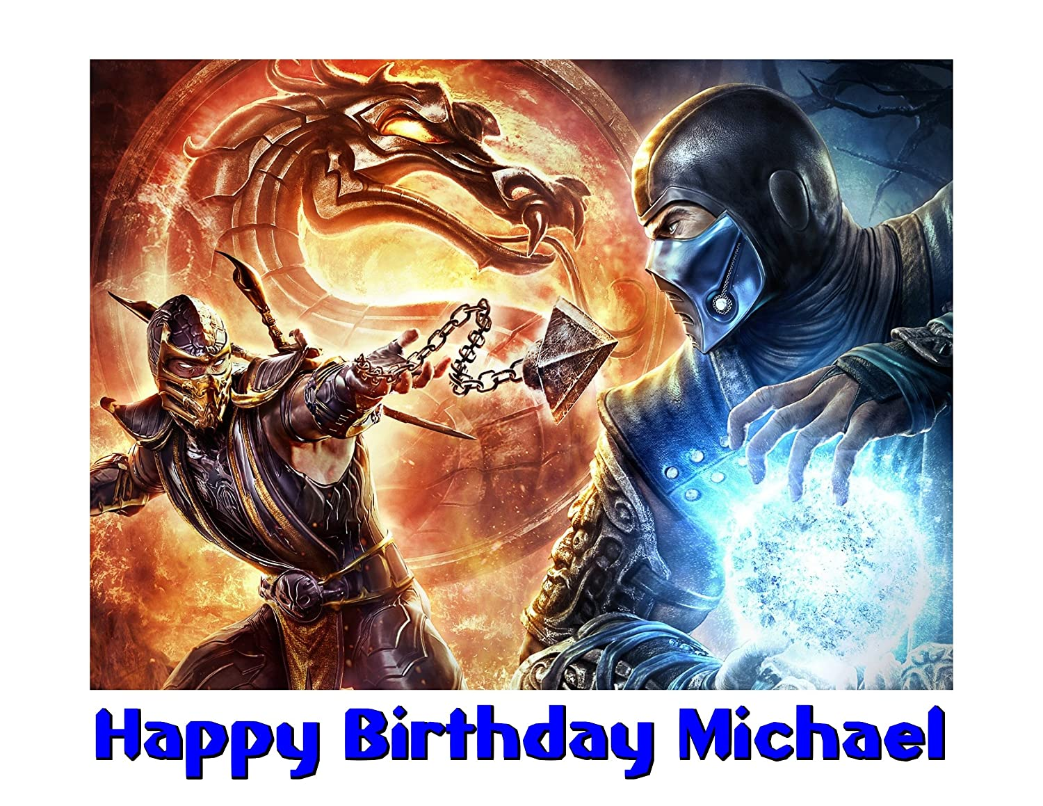 Amazon Mortal Kombat Sub Zero Scorpion Image Photo Cake Topper