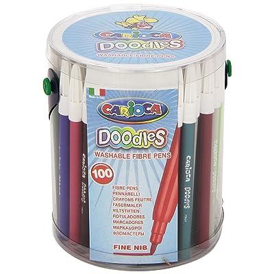 Carioca 40043/IT - Caja de rotuladores de colores de tinta punta fina sintética, 100 unidades: Oficina y papelería