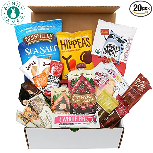 Healthy Vegan Snacks Care Package - Vegan Protein Bars, Cookies, Fruit Snacks, Vegan Jerky, and more