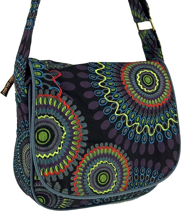 Guru Shop Schultertasche, Hippie Tasche, Goa Tasche Schwarz, HerrenDamen, Baumwolle, 22x23x5 cm, Alternative Umhängetasche, Handtasche aus Stoff