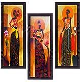 eCraftIndia 'Tribal Village Lady' Matt Texture UV Art Painting (Synthetic Wood, 53.33 cm x 1.27 cm x 40.64 cm, Set of 3), Multicolour