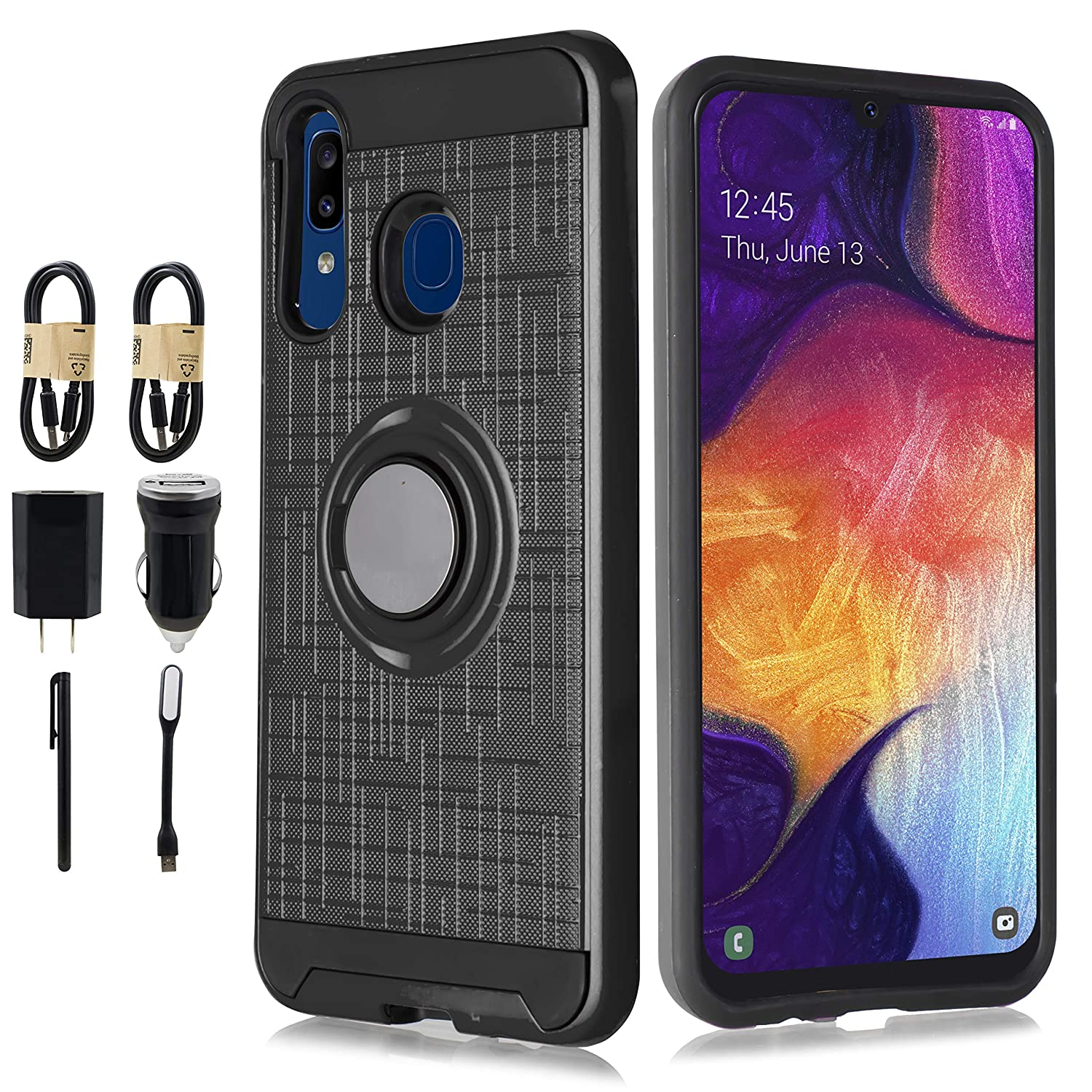 Galaxy A20 Case, Galaxy A30 Case, Hybrid Rotating Ring Holder Kickstand Shockproof Anti-Scratch Rugged Bumper Armor Drop Protective Case for Samsung Galaxy A30 [Accessory] (Black)