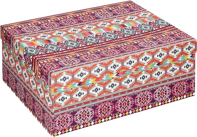 Vacchetti S.p.A - Caja de cartón Decorada étnica 23 x 15 x 8,5 cm: Vacchetti S.p.A: Amazon.es: Hogar