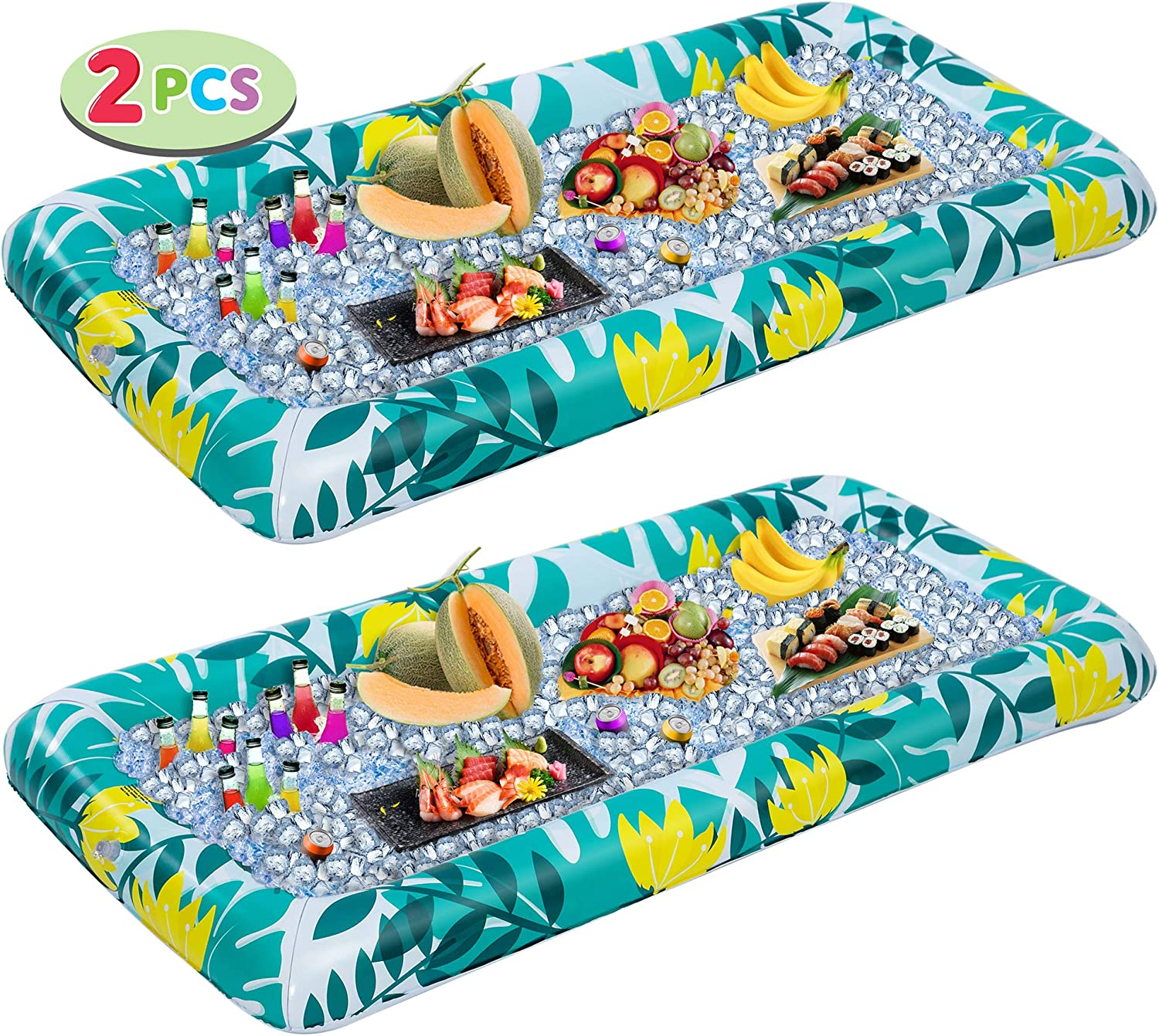 Inflatable Serving Bars with Drain Plug (2pcs), Fashion Pattern Inflatable Cooler Ice Buffet Salad Serving Trays Food Drink Holder for Indoor Outdoor Summer Beach Luau Party, Picnic, and Pool Party