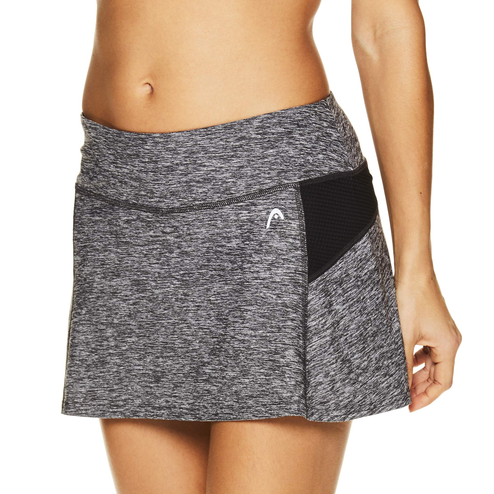 HEAD Women's Athletic Tennis Skort - Performance Training & Running Skirt - Fresh Mesh Black Heather, X-Small