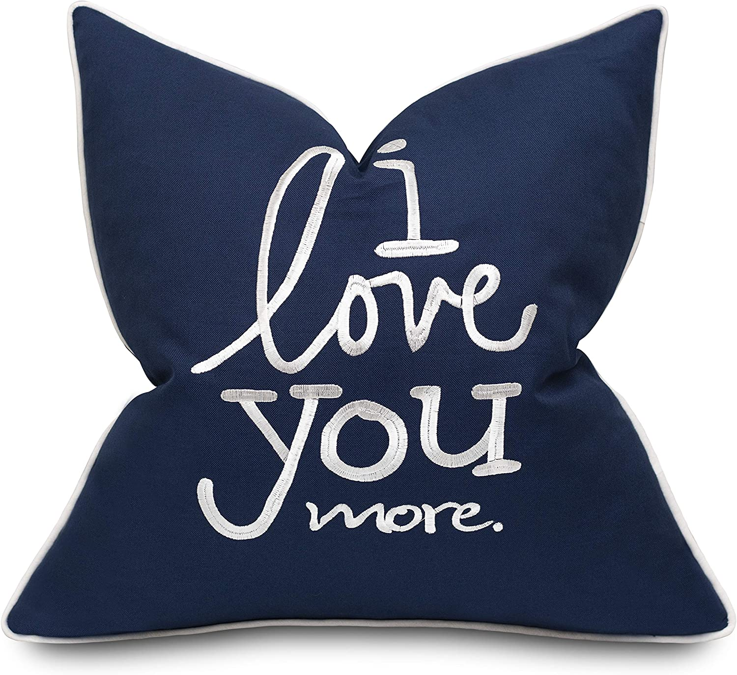 Adecor I Love You More Cotton Embroidered Decorative Square Accent Throw Pillow Cover Gift For Boyfriend Girlfriend Bedroom Decor 18x18 Inches Navy Blue Home Kitchen