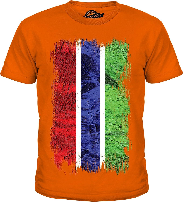 Gambia Grunge Bandera – Unisex niños camiseta de manga corta Top – Niño/Niña/Infantil/Bebés Naranja Barley Sugar 10 años: Amazon.es: Ropa y accesorios