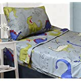 All American Collection 3 Piece Twin Size Dinosaur Sheet Set, Matching Comforter and
