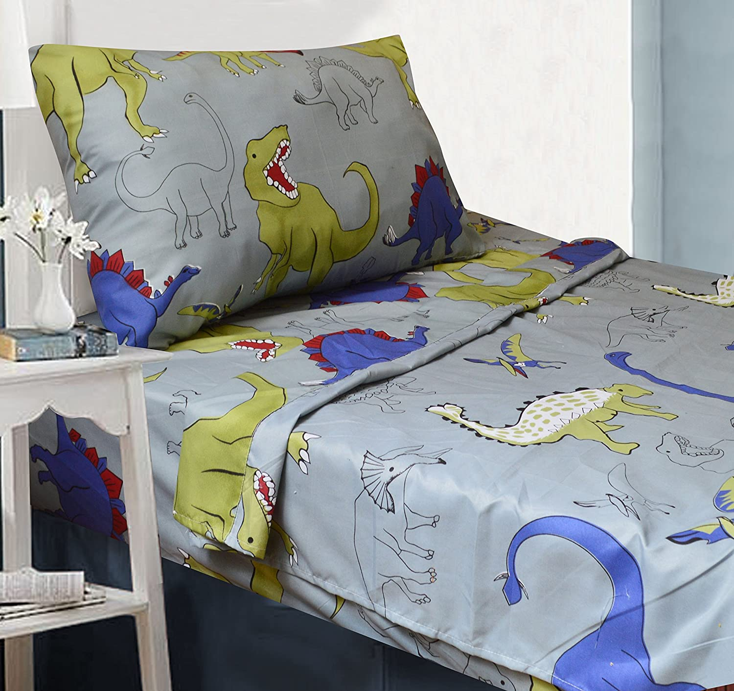 All American Collection 3 Piece Twin Size Dinosaur Sheet Set, Matching Comforter