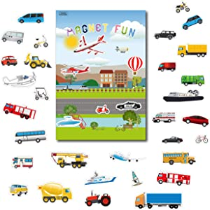 GrandLmoon Magnetic Portable Playboard Cars Planes Boats Airport Country Farm Vehicles (39 Pcs )