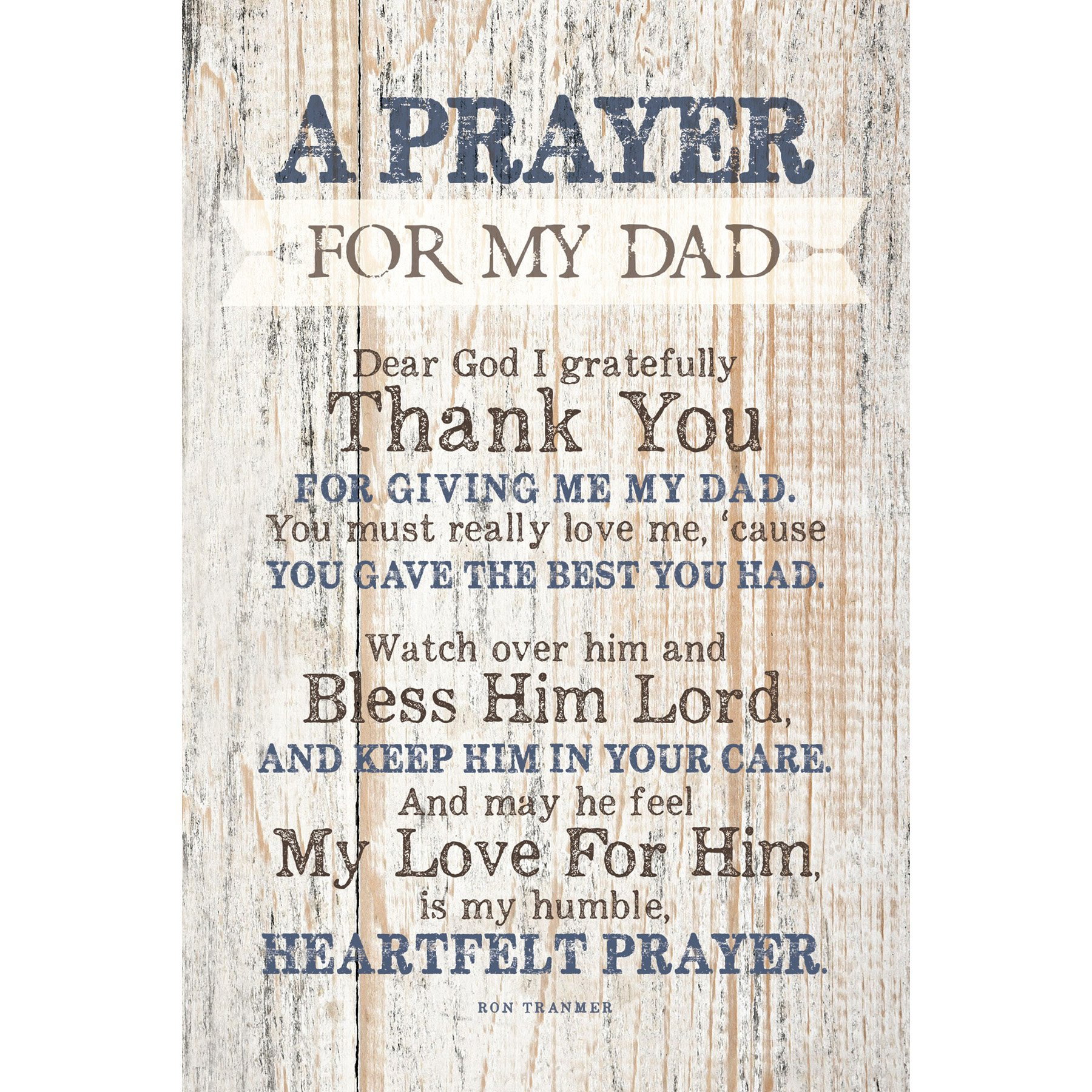Dad (Father) Prayer Wood Plaque with Inspiring Quotes 6x9 - Classy Vertical Frame Wall & Tabletop Decoration | Easel & Hanging Hook | Dear God I Gratefully Thank You for Giving me My dad by Dexsa