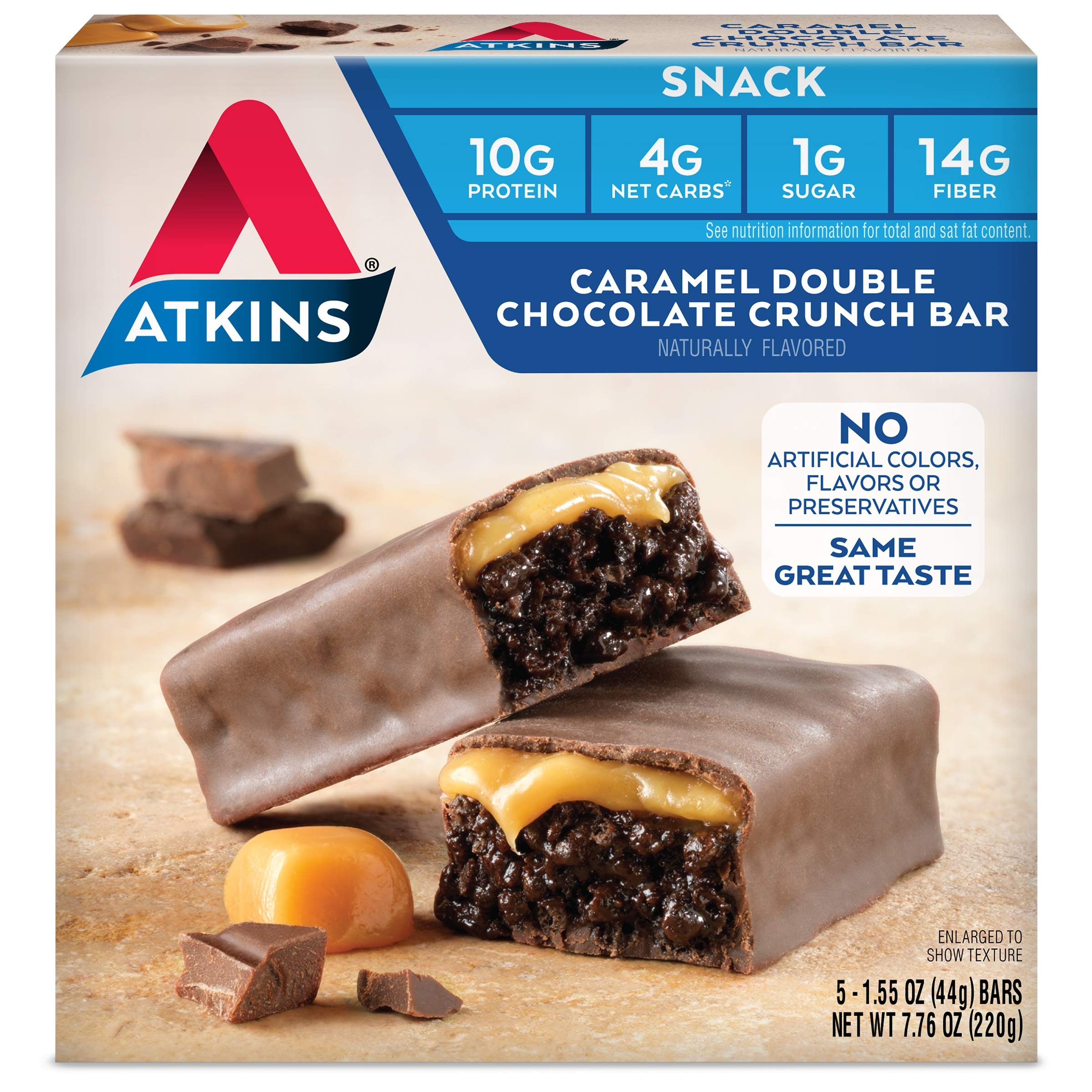 Atkins Caramel Double Chocolate Crunch Bars. Rich and Decadent Treat with Low Sugar and Net Carbs. Great Source of Protein and Fiber. 1.55 oz per Bar (5 Bars) by Atkins