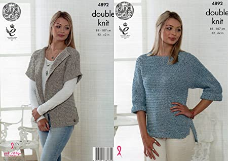 King Cole Ladies Double Knitting Pattern Womens Cardigan & Batwing ...