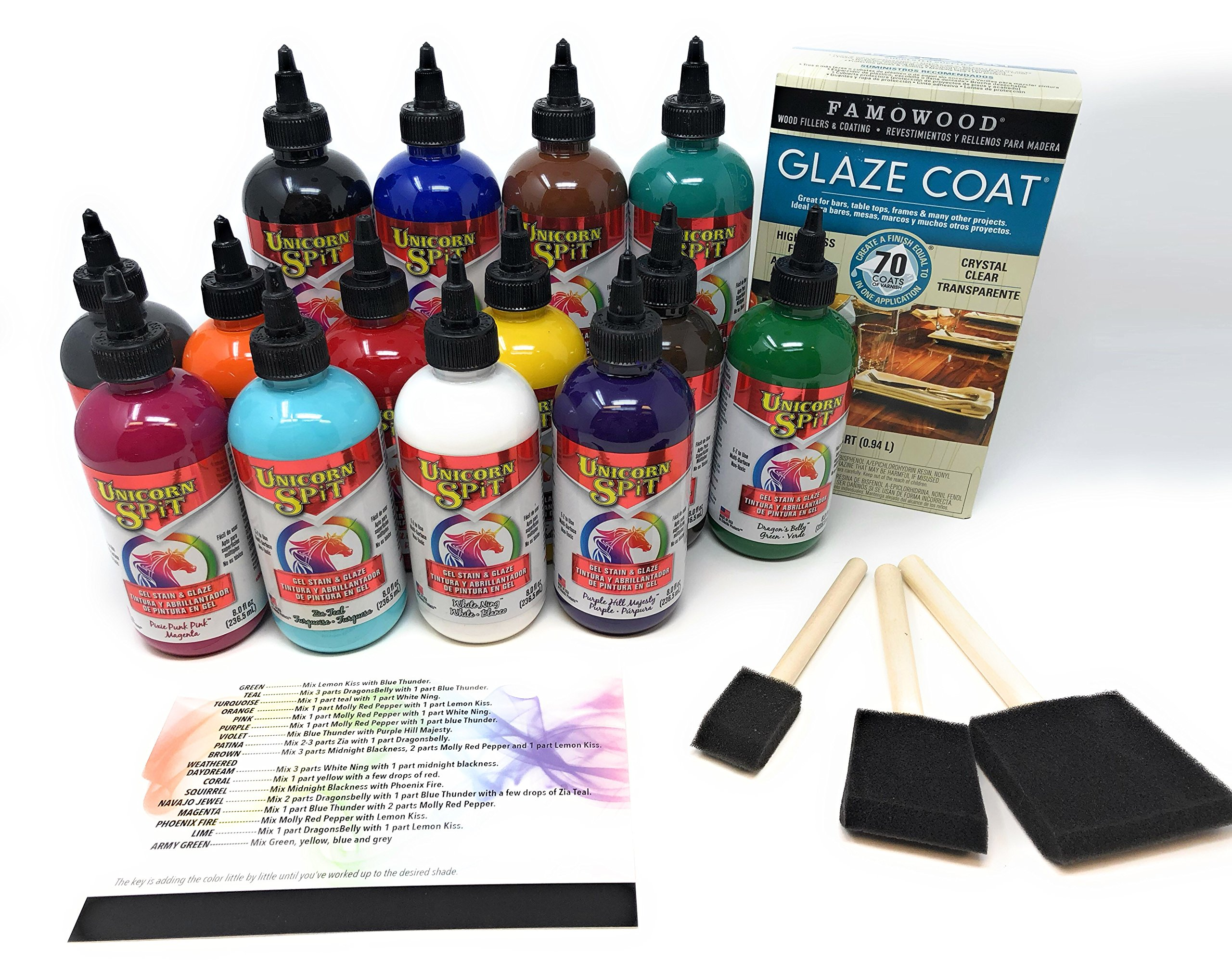 Unicorn SPiT Bundle - All 14 Colors (8oz Bottles), 1 Quart Famowood Glaze, 3 Foam Brushes, Reference Card