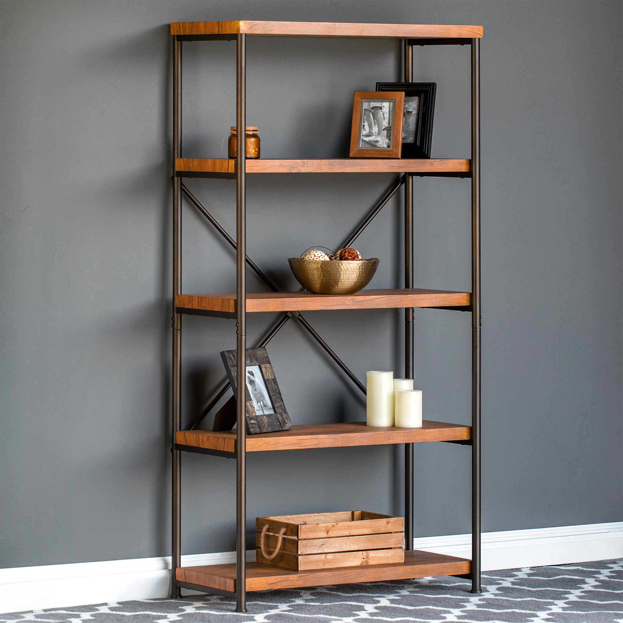 Best Choice Products 4-Tier Rustic Industrial Bookshelf Display Decor Accent w/Metal Frame, Wood Shelves - Brown by Best Choice Products (Image #2)