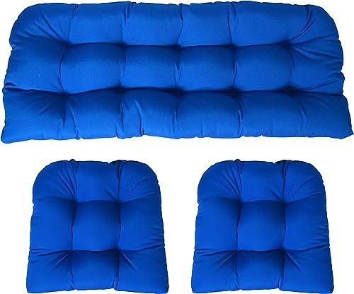 Sunbrella Canvas Pacific Blue 3 Piece Wicker Cushion Set