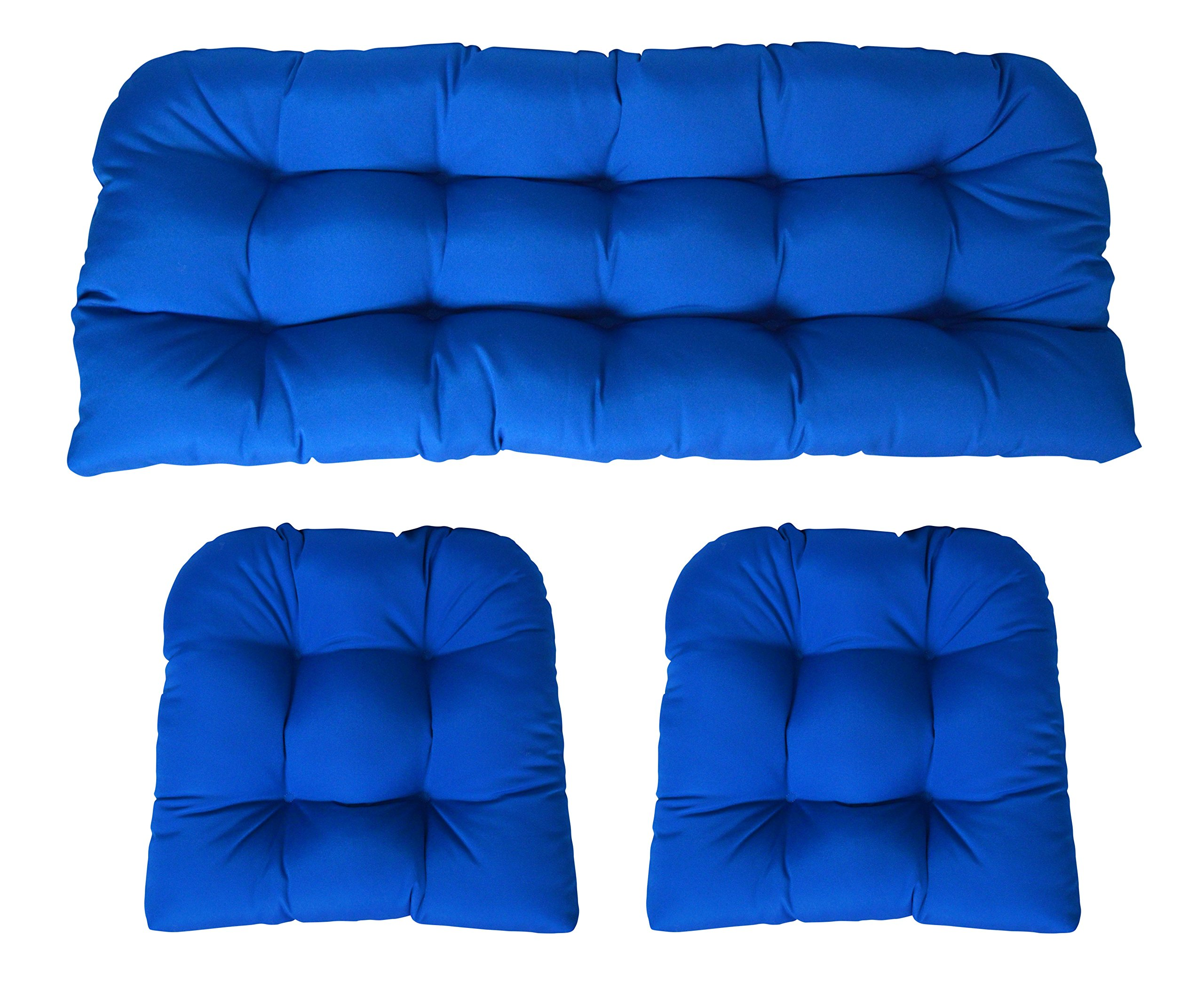 RSH Decor Sunbrella Canvas Pacific Blue 3 Piece Wicker Cushion Set - Indoor/Outdoor Wicker Loveseat Settee & 2 Matching Chair Cushions
