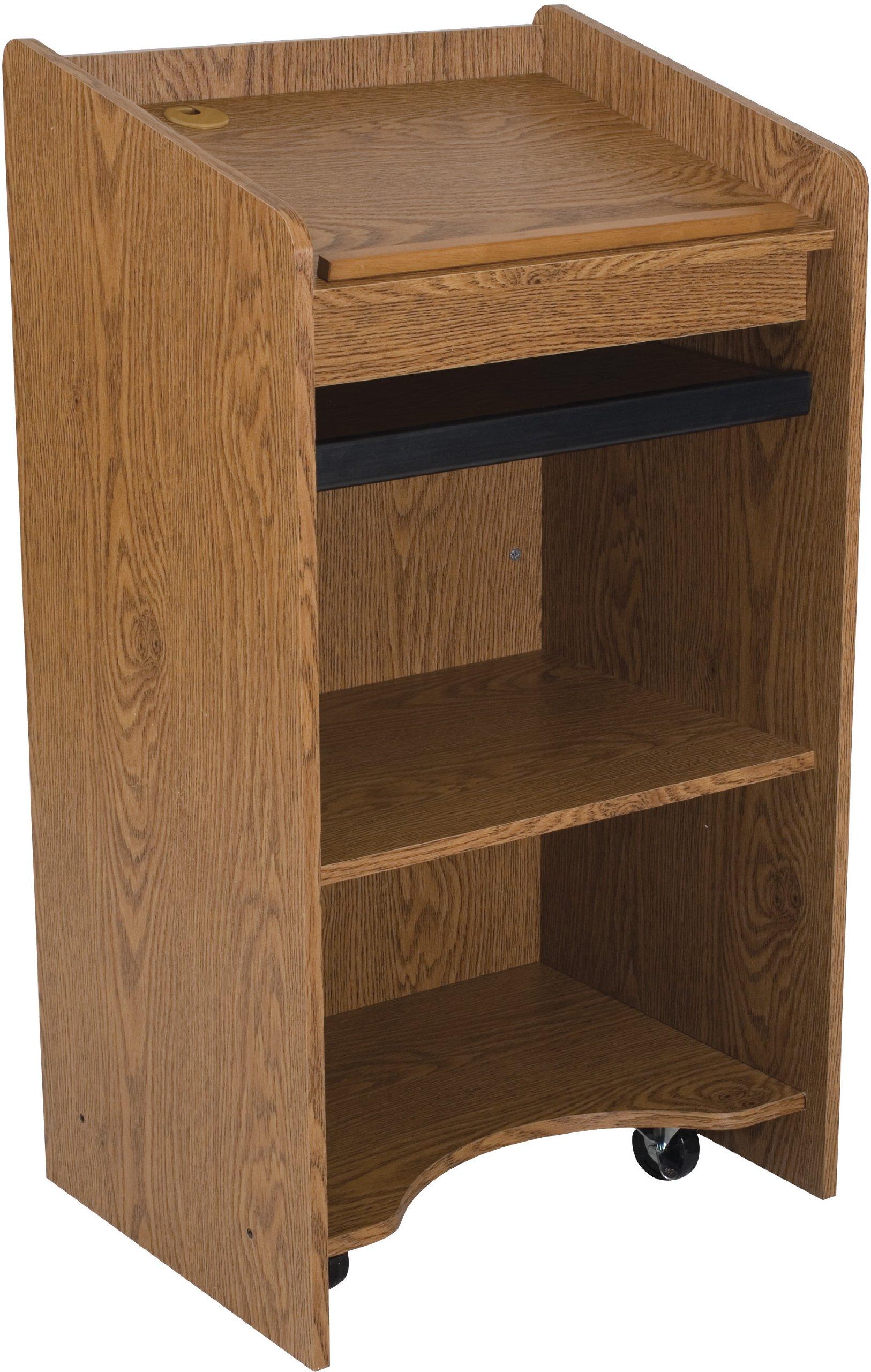 Balt 27510 Mobile Floor Lectern, Oak, 46''H x 25''W x 20.13''D