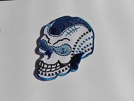 Con diseño de calavera de colour azul de punk de tatuaje de parche ...