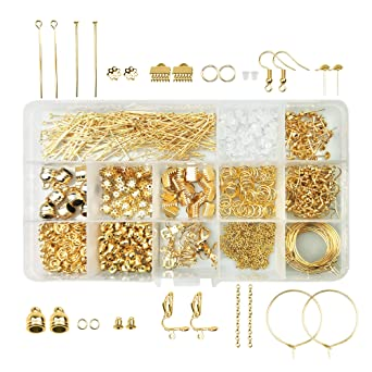 アクセサリーパーツセット ゴールド パーツキット スターターセット14種類 約939個 基礎 パーツ 手芸材料 ケース付き(ゴールド)