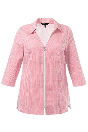 05f56d1cacb Ulla Popken Women s Plus Size Textured Stripe Zipper Blouse Flamingo Pink  Stripe 12 14 713010