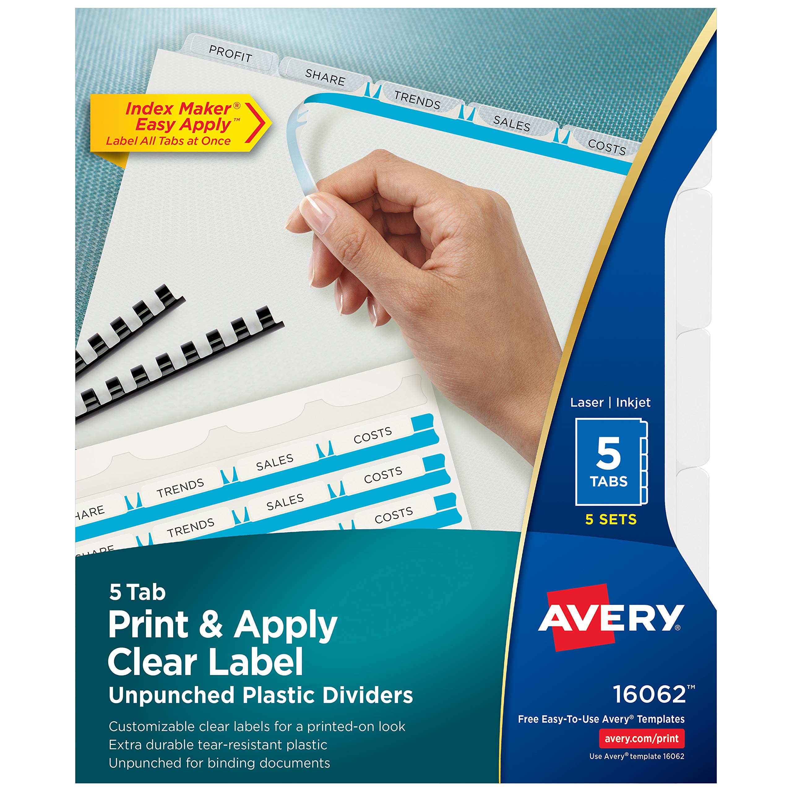 Avery 5-Tab Unpunched Plastic Dividers, Easy Print & Apply Clear Label Strip, Index Maker, 5 Sets (16062) by AVERY