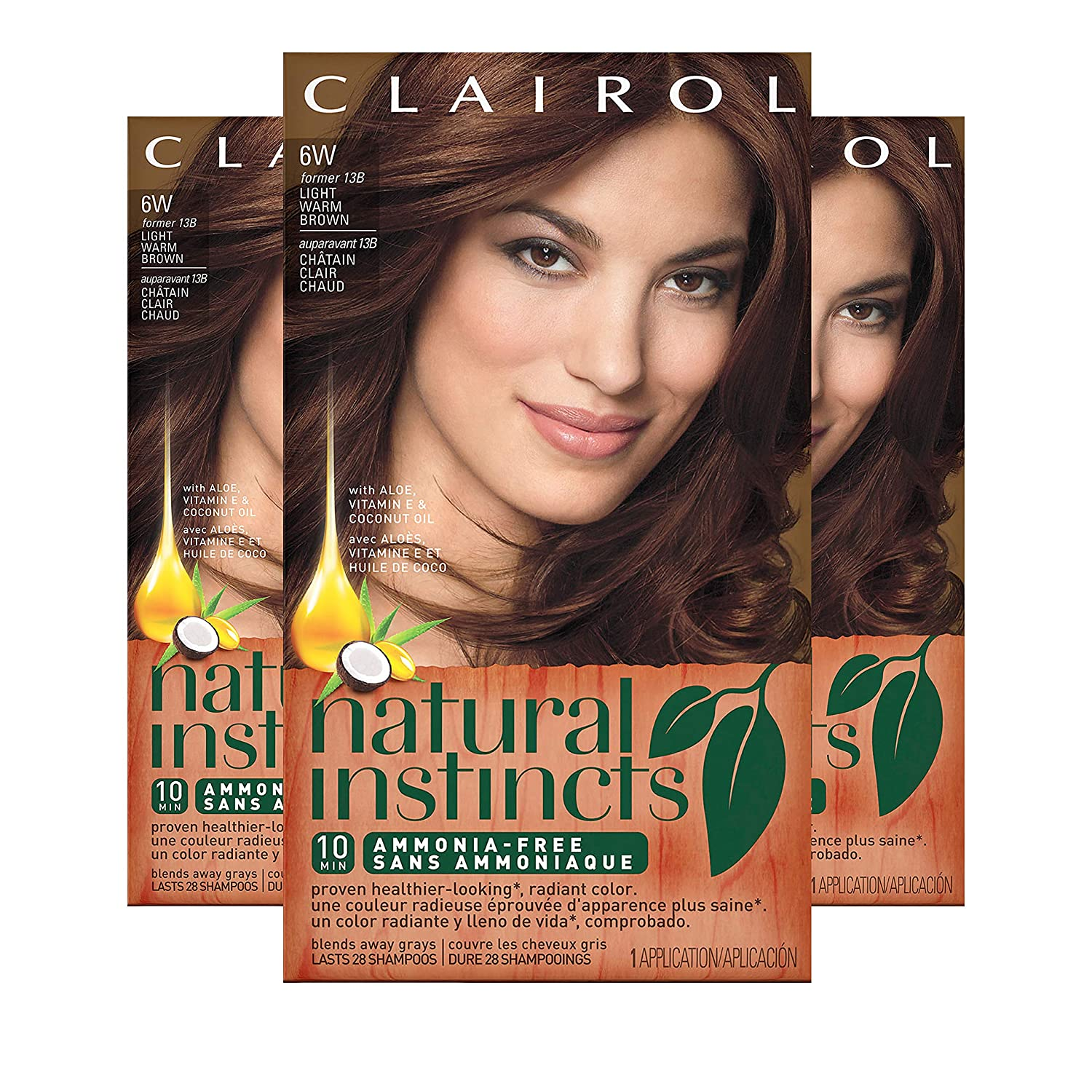 Clairol Natural Instincts Hair Color, Shade 6w/13b Spiced Cider Light Warm Brown, 3 Count