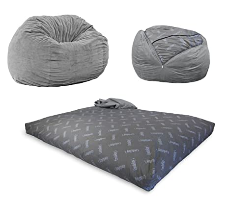 Super Cordaroys Chenille Bean Bag Chair Convertible Chair Folds From Bean Bag To Bed As Seen On Shark Tank Charcoal Full Size Frankydiablos Diy Chair Ideas Frankydiabloscom
