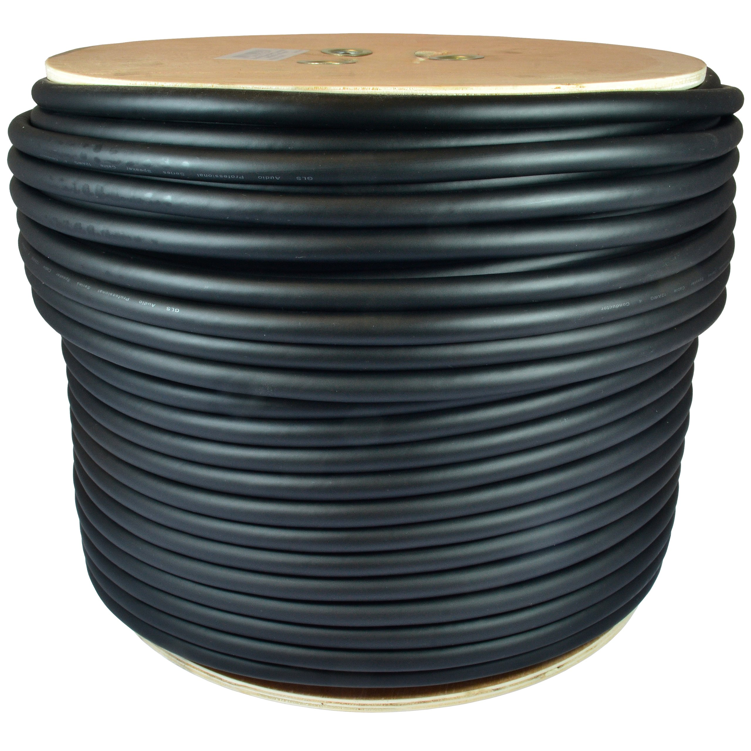 GLS Audio 500 feet Bulk Professional Speaker Cable 12AWG 4 Conductor Black - 12 Gauge Patch Cord 12/4 Wire - Pro 500' Spool Roll 12G 4 Cond Bulk by GLS Audio