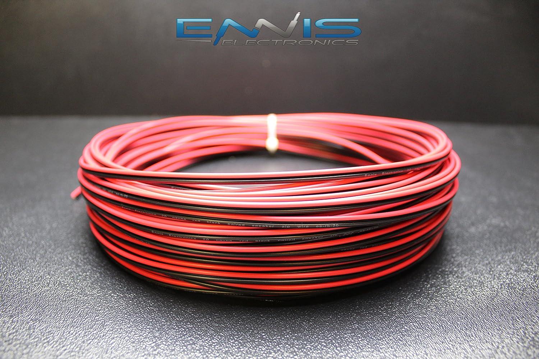 25 Ft 14 Gauge Speaker Wire Car Home Audio 25/' Black /& Red Zip Power Ground Wire