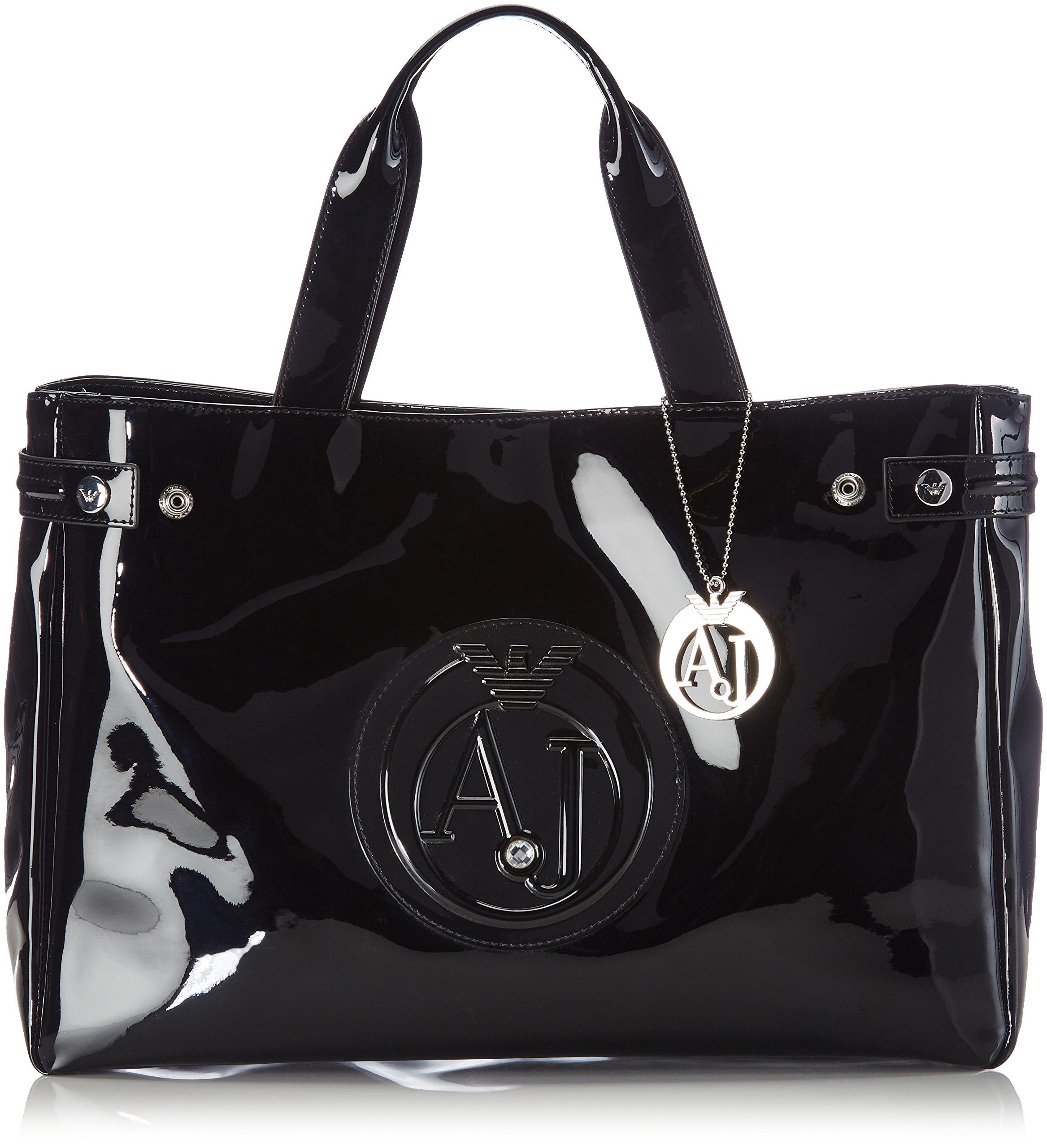 Armani Jeans Medium Embossed Logo Patent Vinyl Bag (One size, Black)