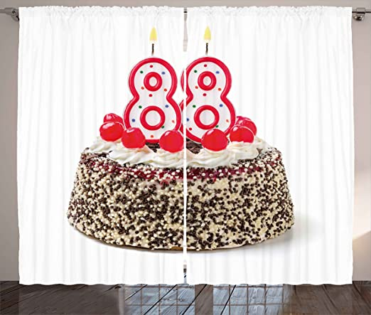 88ª cumpleaños Decoración cortinas por Ambesonne, Happy Old ...