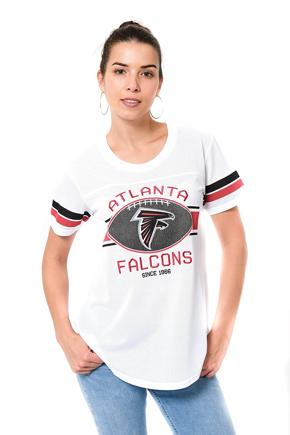 Medium White NFL Atlanta Falcons Ultra Game Womens MESH S//S CREW YORK TEE