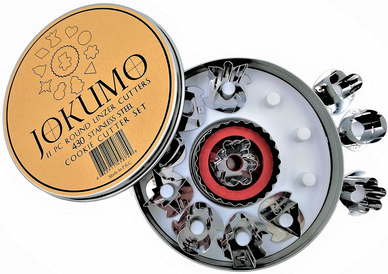 JOKUMO 11 Piece Round Linzer Cookie Cutter Set