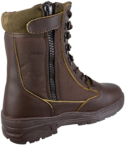 Savage Island Brown Leather Army Patrol Combat Boots Side Zip Tactical  Cadet Security Military (3 8057e970e9e