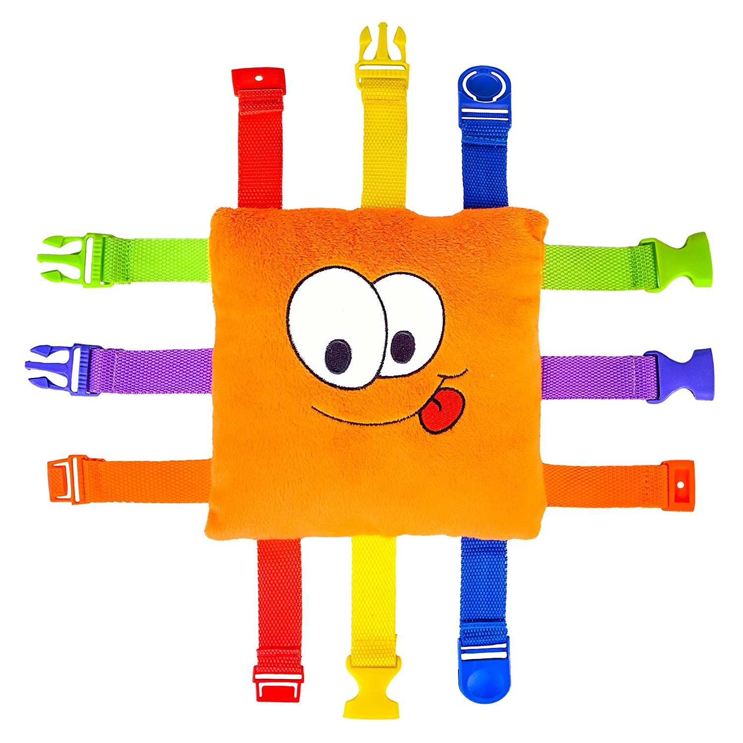 BUCKLE TOY Bizzy - Toddler Early Learning Basic Life Skills Children's Plush Travel Activity Buckle Toy Inc