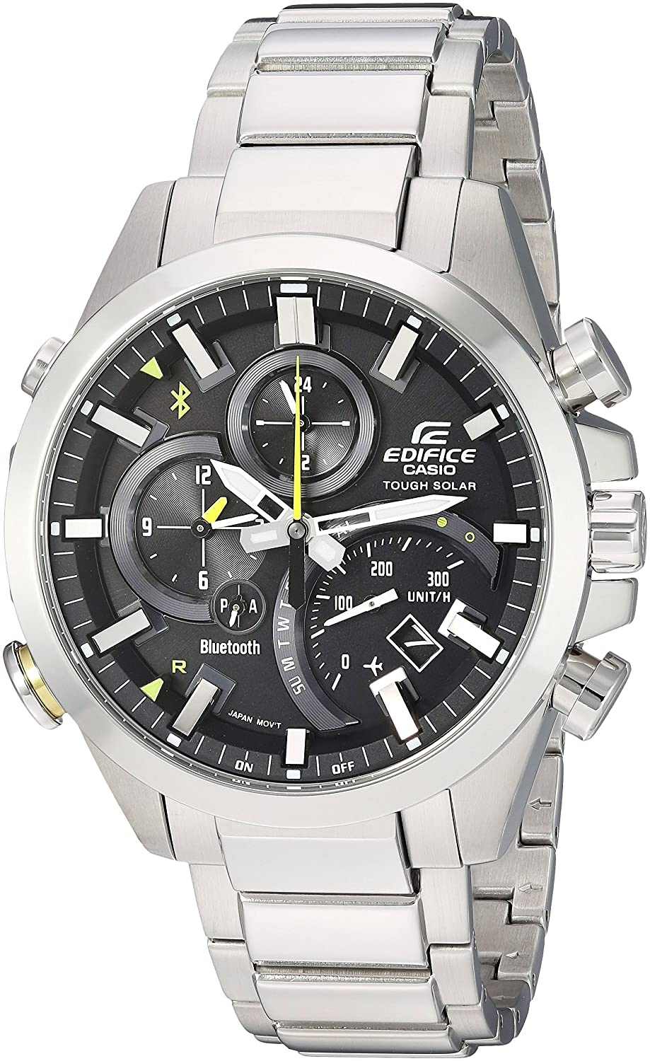 Casio Mens Edifice Solar Connected Quartz Watch with Stainless-Steel Strap, Silver, 14 (Model: EQB-501D-1ACF)