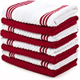 Sticky Toffee Cotton Terry Dishcloth, Red, 8 Pack, 12 in x 12 in