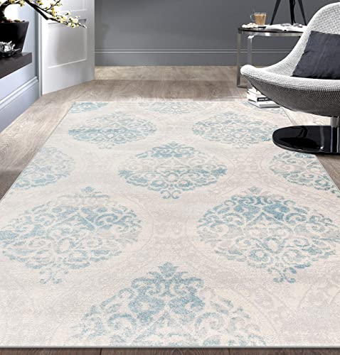 Rugshop Transitional Floral Damask Area Rug 7'10″ x 10' Blue