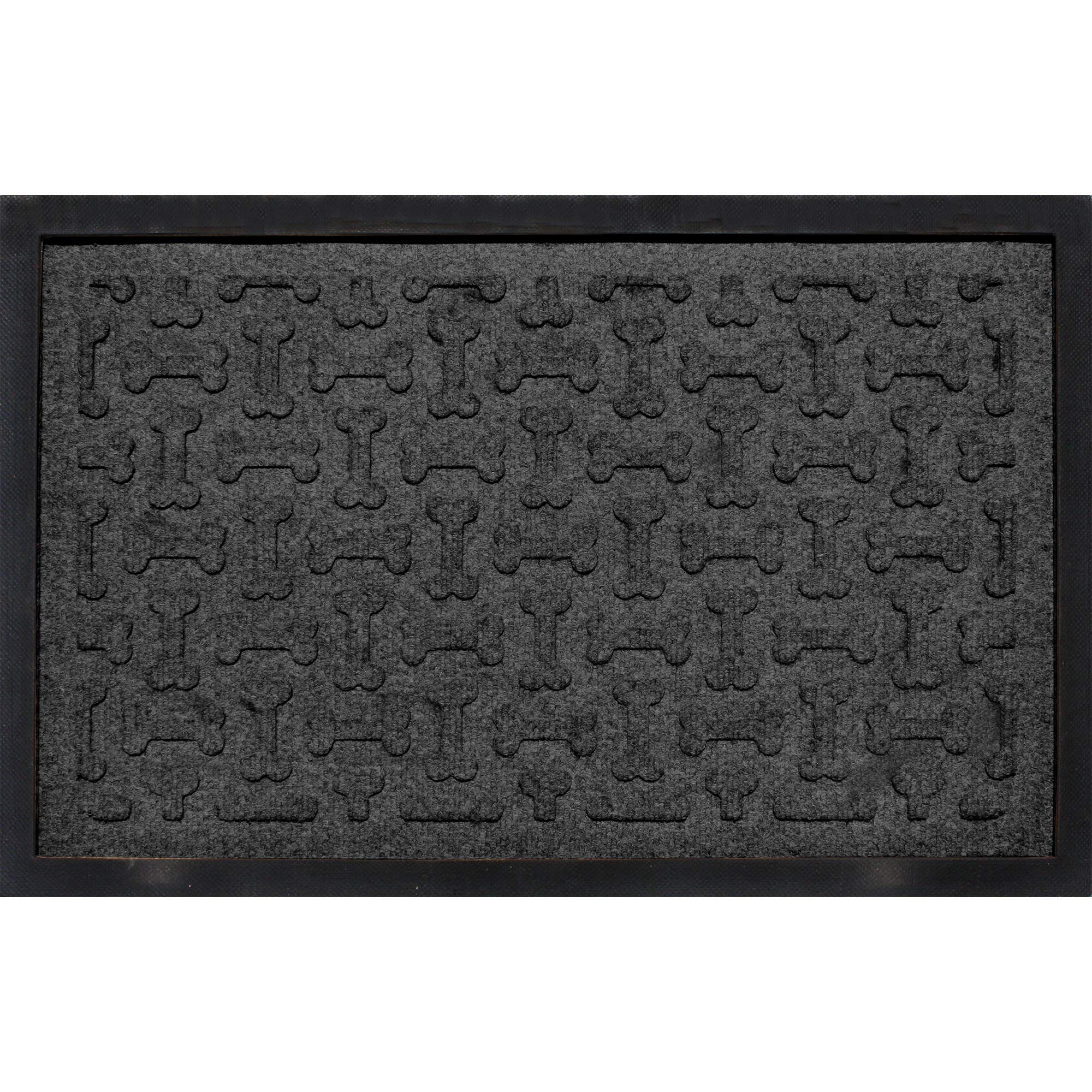 Bungalow Flooring Bone Treats Feeding Tray Charcoal Dog Mat, 27'' L x 18'' W, Small, Gray